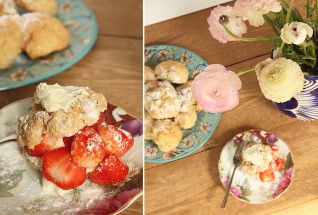 shortcake, aardbei, room, bloemen, vintage, servies, zoet,