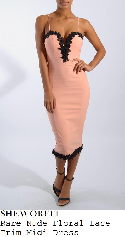 stephanie-davis-peach-pink-black-lace-trim-sleeveless-sweetheart-midi-dress