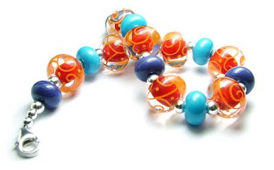 Lampwork & sterling silver bracelet