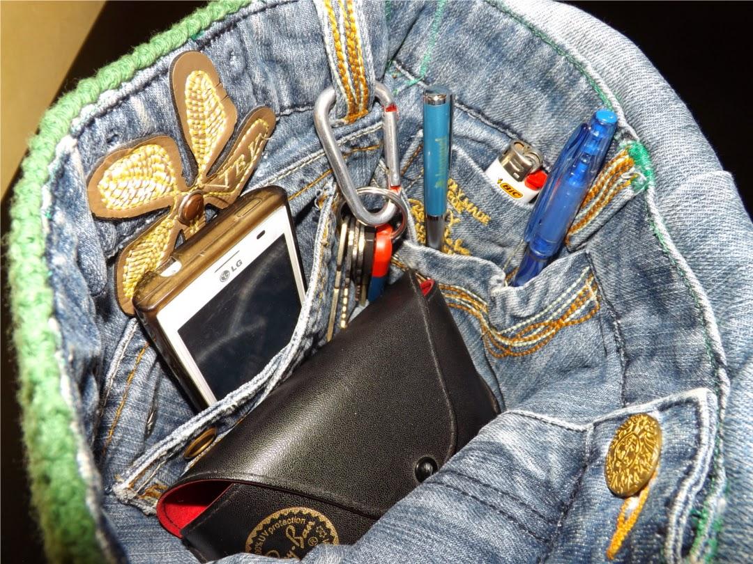 Interior vaquero de bolso de crochet o ganchillo