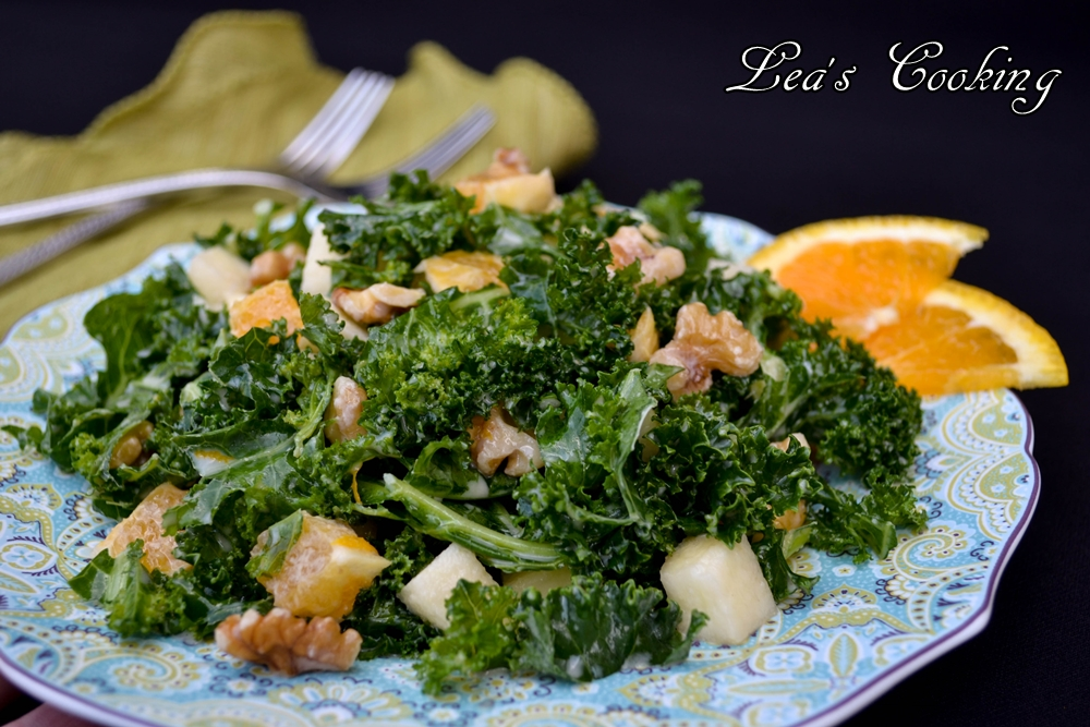 Lea's Cooking: Kale Salad with Orange Tahini Dressing