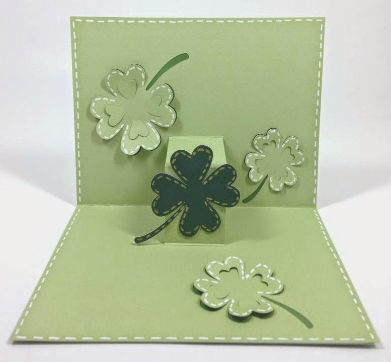 Cricut Artfully Sent St. Patrick's day POP-UP card inside