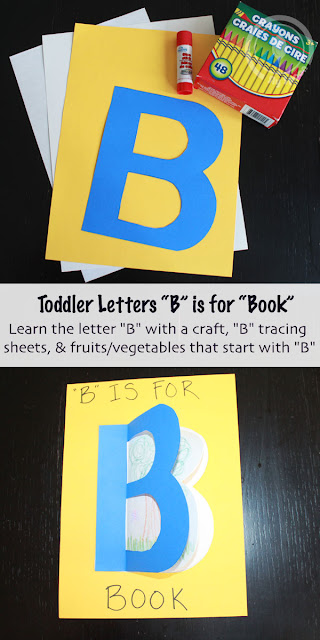 Toddler Preschooler letter of the week, letter B is for book, unique letter