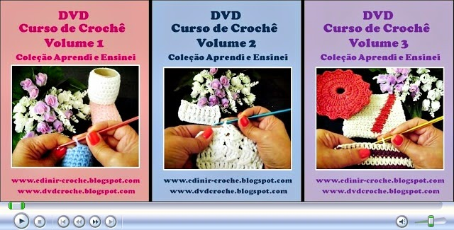 dvd curso de croche 3 volumes 81 video-aulas edinir-croche blog aprender croche frete gratis loja curso de croche