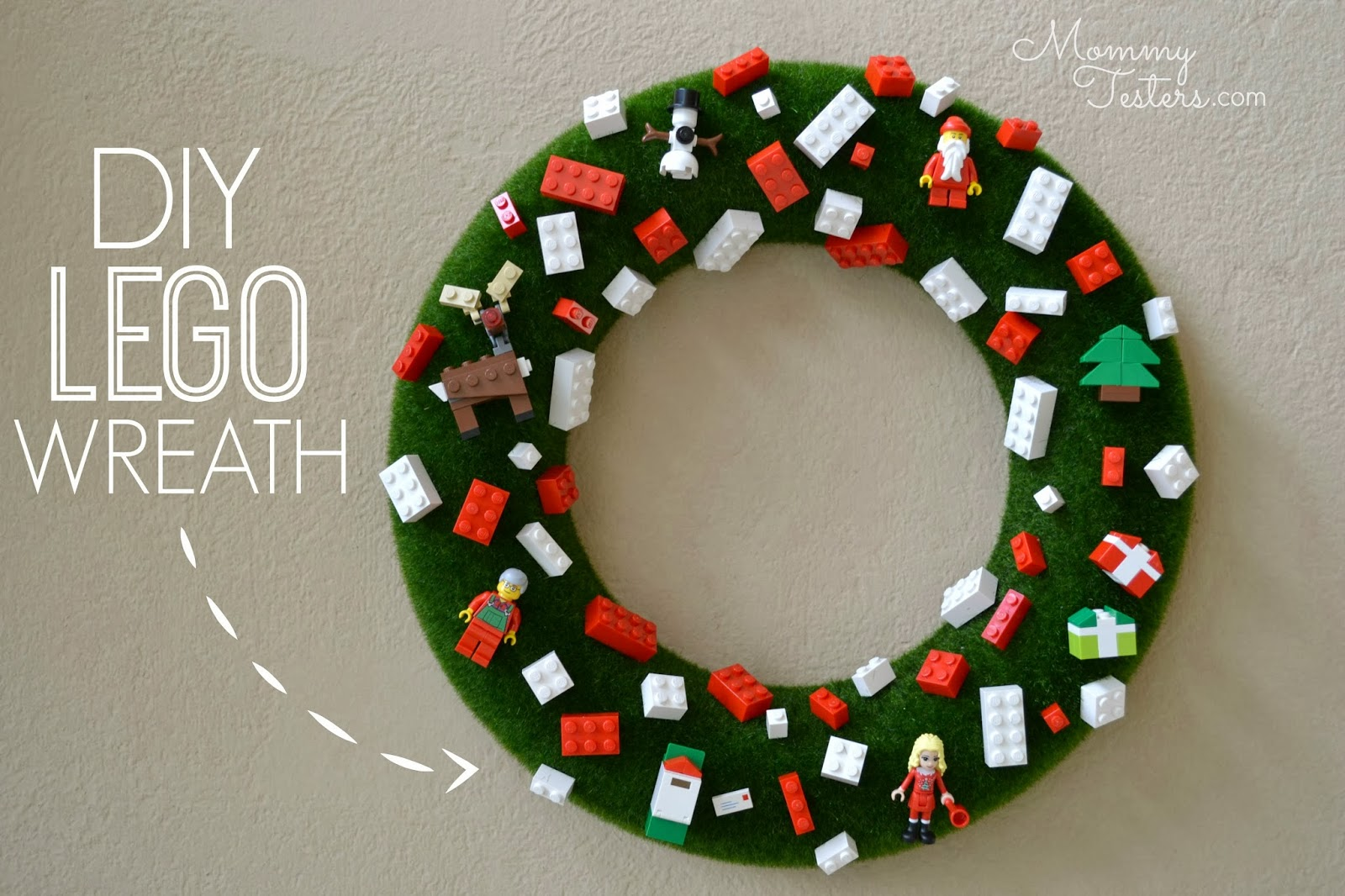 Mommy testers diy lego wreath kid friendly christmas wreath Simple christmas wreaths