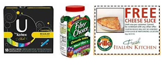 Free Pizza, Fiber Choice, Kotex and More