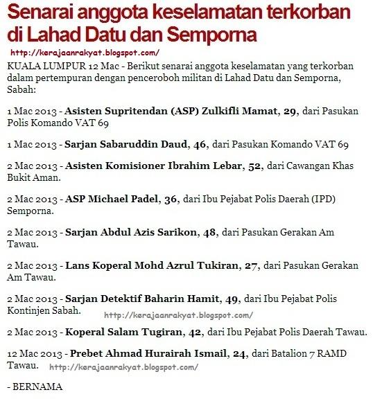 Senarai anggota keselamatan terkorban di Lahad Datu dan Semporna.