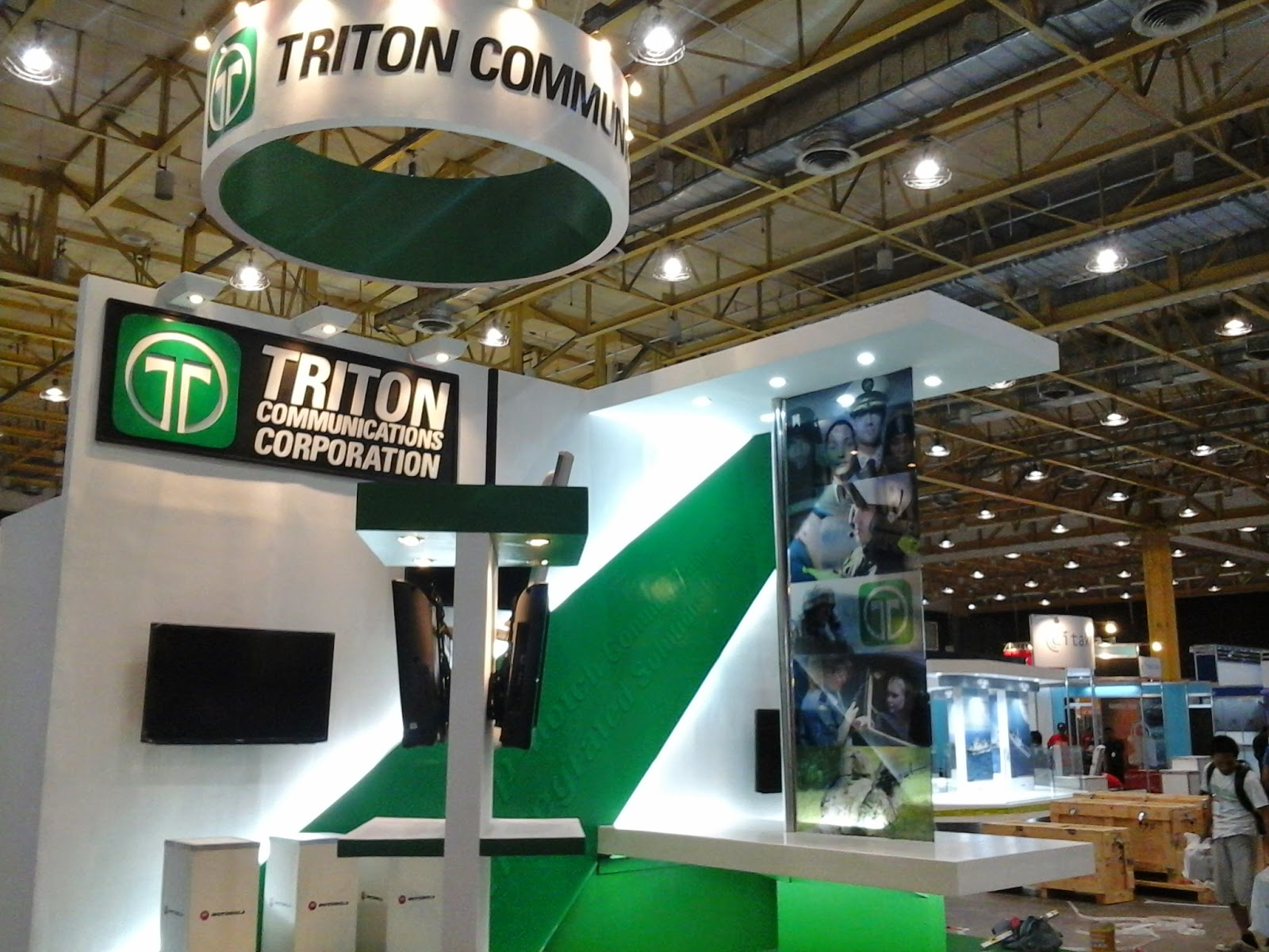 Close-up view of Triton Communications Corporation Trade Show Booth