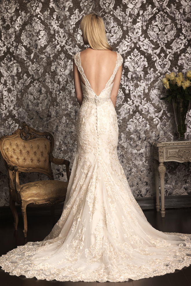 Lace Wedding Dress With Cap Sleeves And Open Back 16