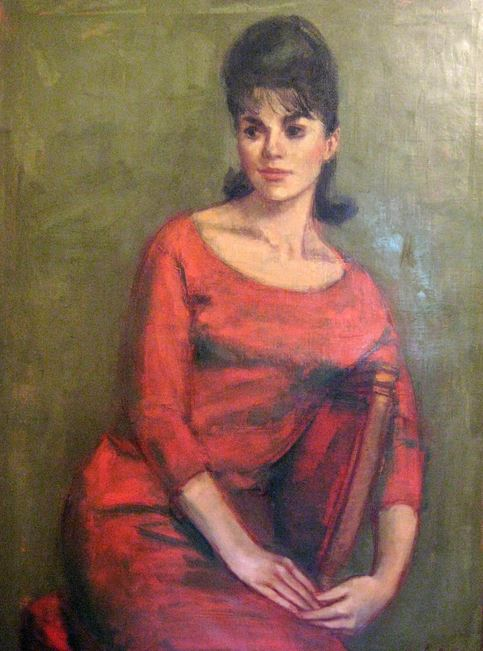 JAN DE RUTH MID CENTURY IMPRESSIONIST PORTRAIT /SEATED YOUNG LADY IN RED DRESS