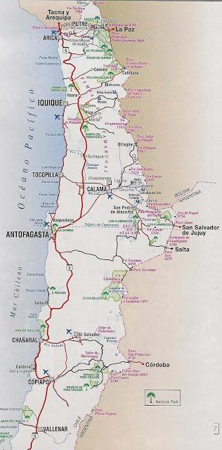 mapa caminero de chile norte