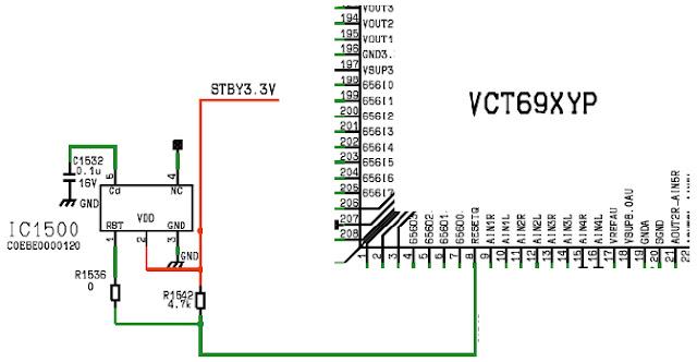 Hình 29 - IC1500 tạo tín hiệu Reset để khởi động CPU qua chân số 8