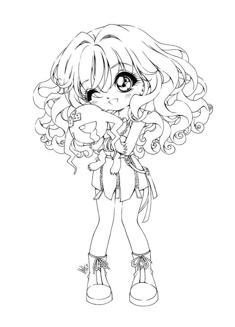 Free Coloring Pages Of Anime Girl Hair