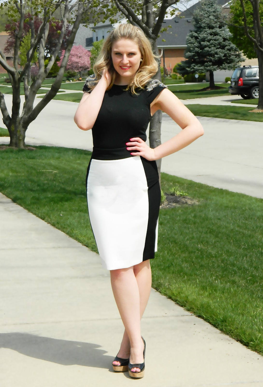 zara black and white skirt