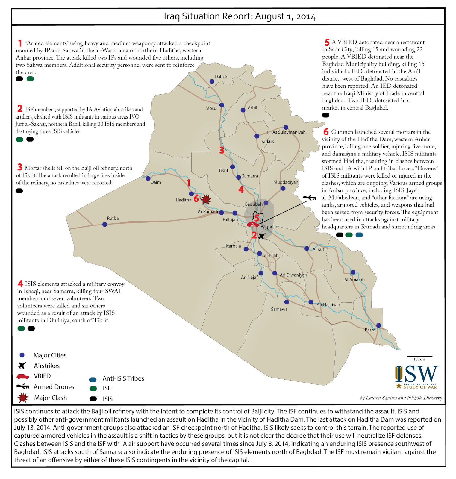 Map: Iraq situation report as of August 1, 2014 from the Institute