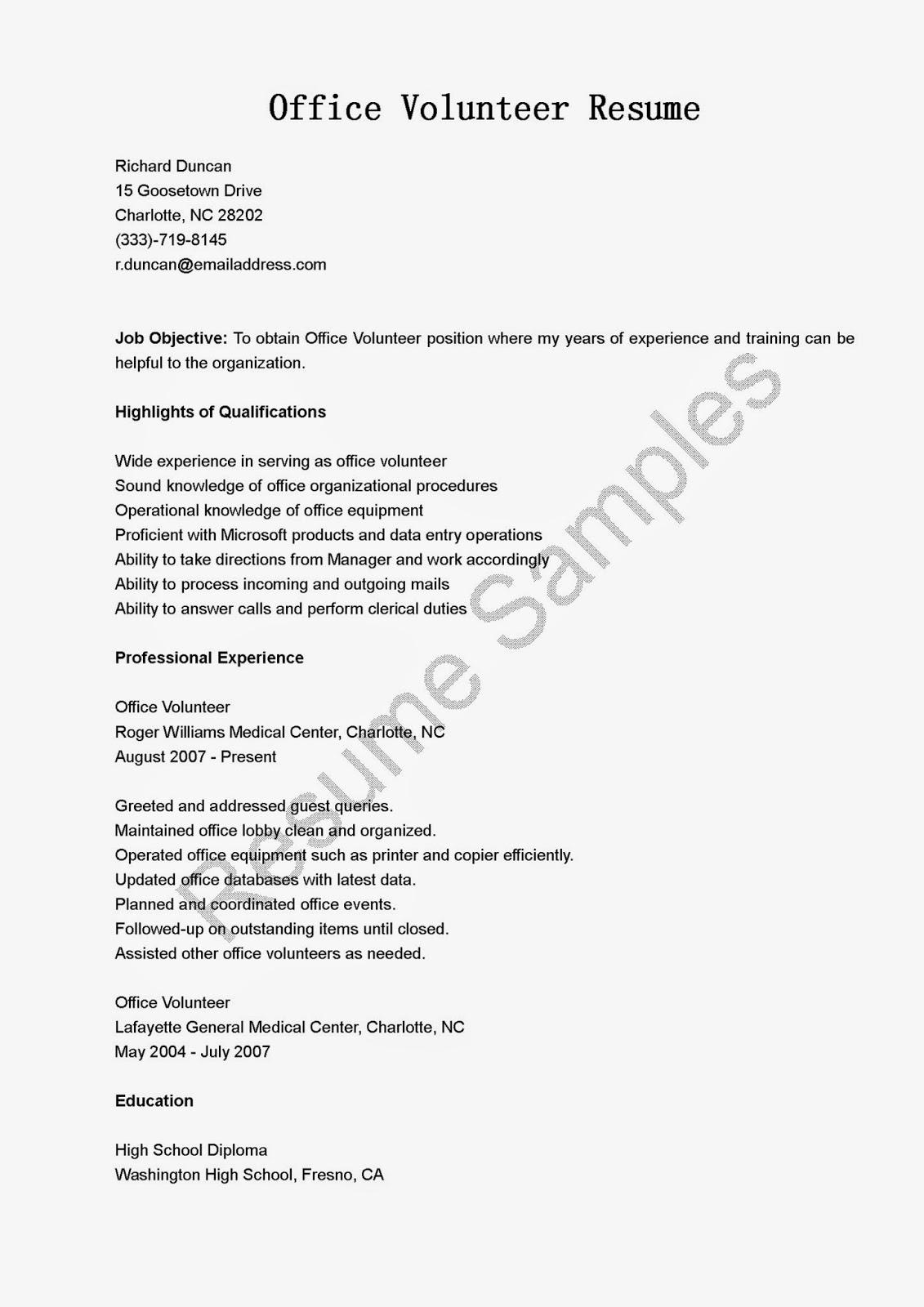 Resume Samples fice Volunteer Resume Sample