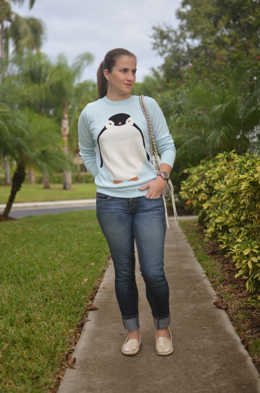 penguin sweater - skinny jeans - flats - white rebecca minkoff