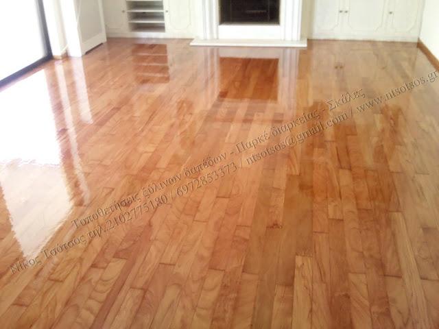 Συντήρηση και γυάλισμα ξύλινου δαπέδου Doussie