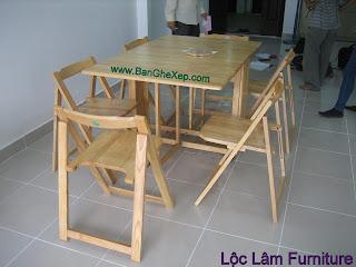 Bộ bàn ghế xếp gấp tự nhiên chữ nhật Lộc Lâm Furniture tại nhà khách hàng