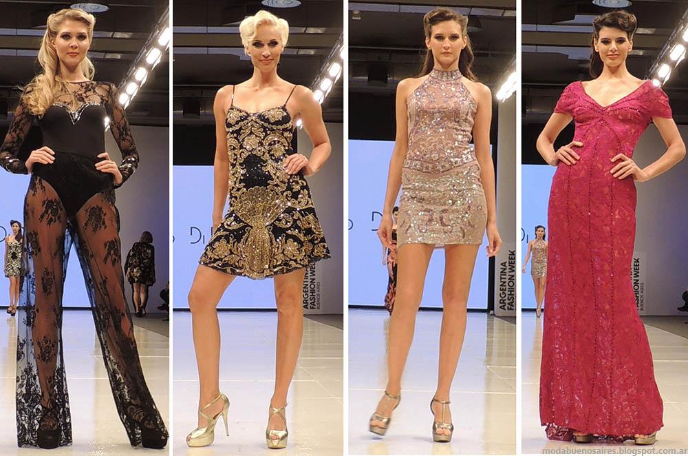 Vestidos de fiesta 2015 y un mono de encaje con toda la moda y el glamour que constituyen el sello indiscutido de Carlo Di Domenico. Moda Argentina primavera verano 2015.