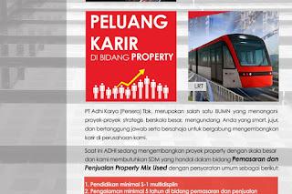 Lowongan BUMN Pemasaran dan Penjualan Property Mix Used PT Adhi Karya (Persero) Tbk