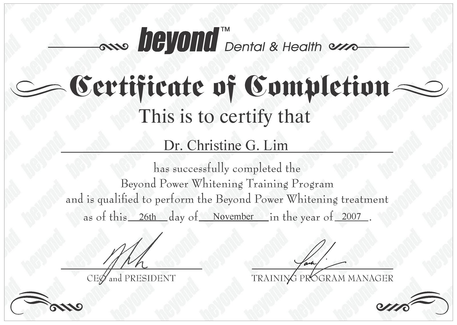 sample certificates of completion of training
