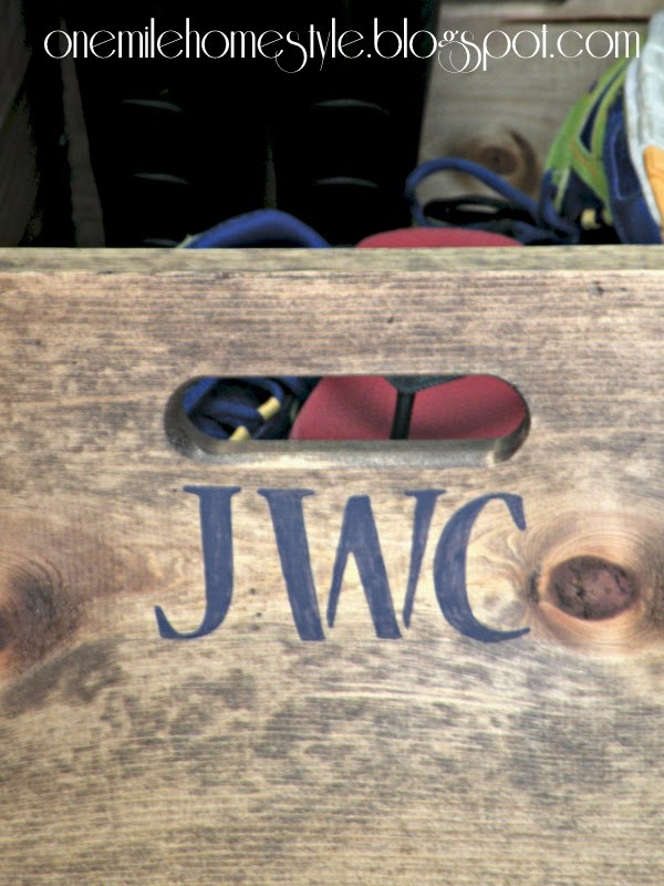 Stenciled Wooden Crates for Personalized Shoe Organization