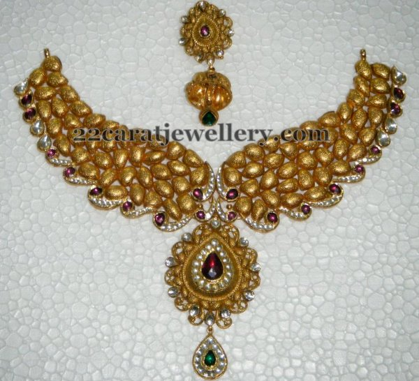 Glitter Gold Necklace Jhumkas