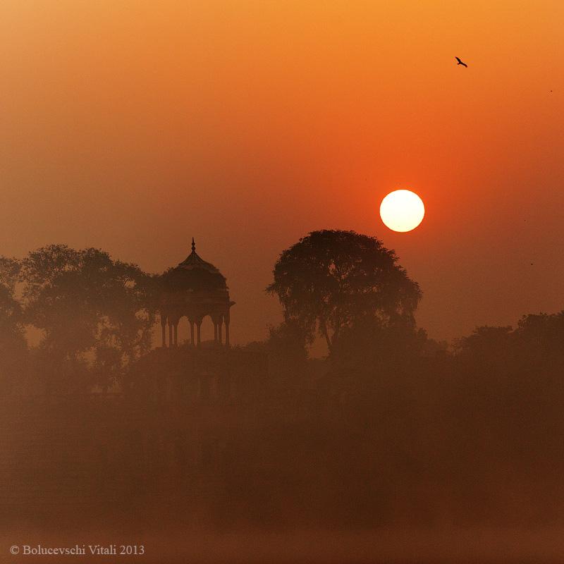 Восход, Индия, фотографии, Тадж-Махал