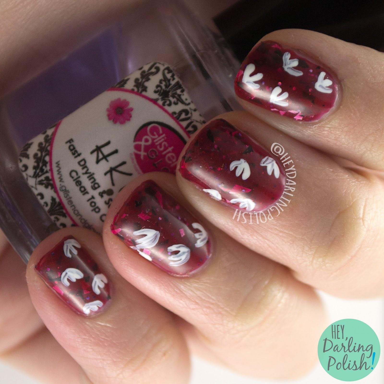 nails, nail art, nail polish, jurassic park, dinosaur, hey darling polish, lucky 13 lacquer, red, 2015 cnt 31 day challenge