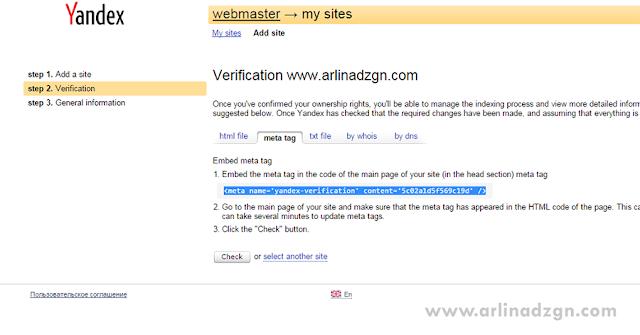 Salin kode verifikasi Yandex