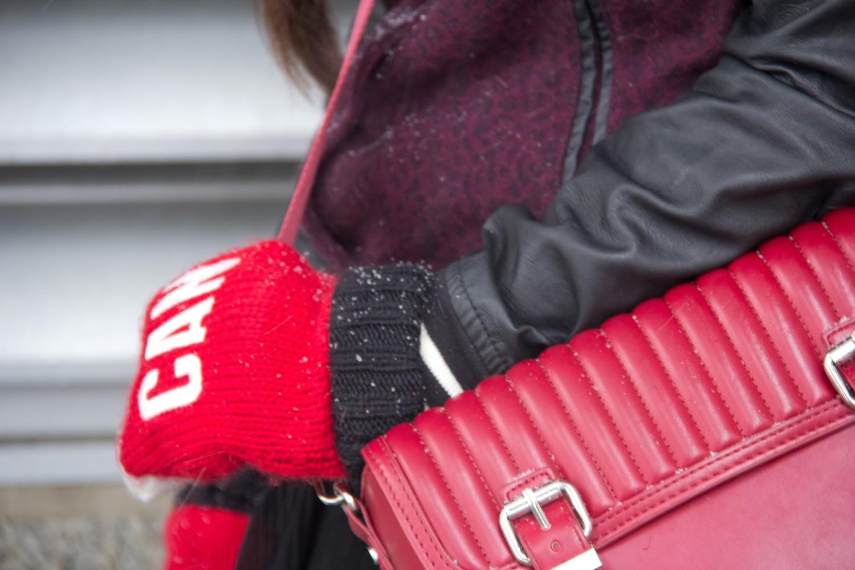 Go-Canada-Mittens, Zara-Burgundy-Boxy-Bag, Varsity-Jacket