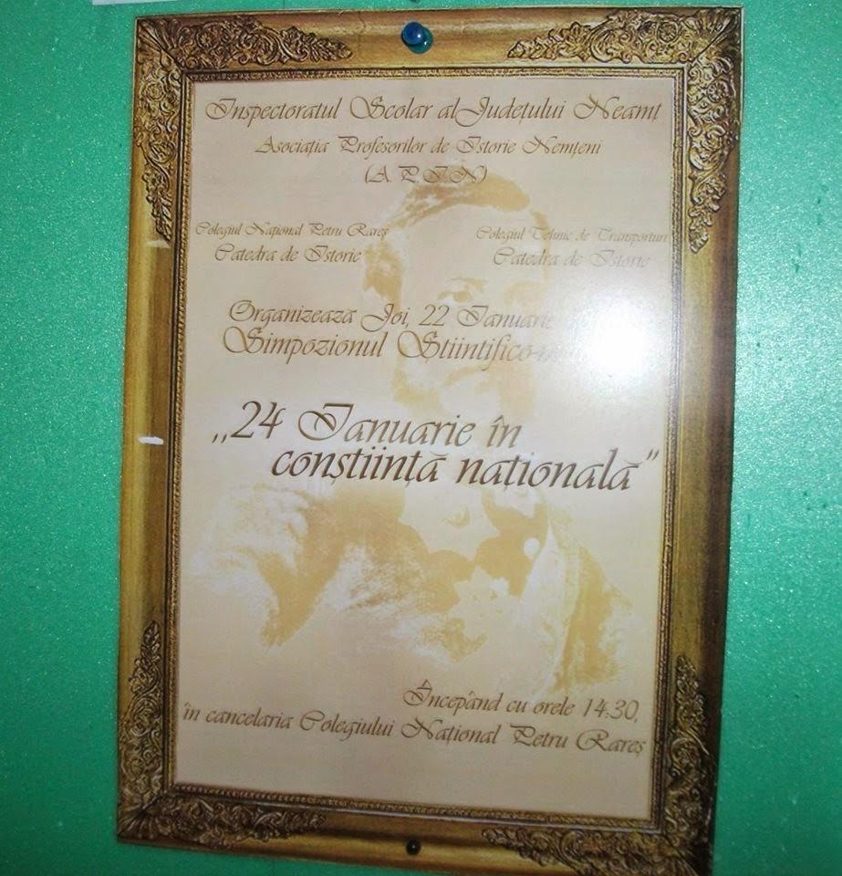 Afişul oficial al Simpozionului pe tema Unirii Principatelor, CNPR, 22.01.2015...