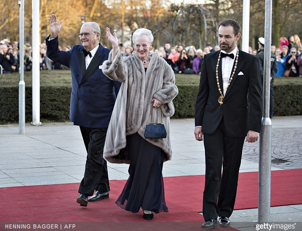 Queen Margrethe of Denmark and Prince Henrik arrive at the Music Hall in Aarhus next to Aarhus Mayor Jacob Bundsgaard for a birthday event for the Danish Queen