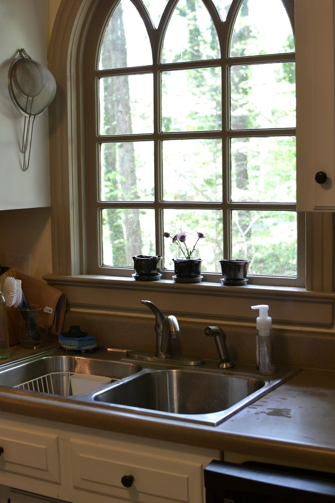 imagine my joy when we toured this house and saw such a picturesque kitchen sink window i fell in love from that point onward and knew this house was the : sink windows window love