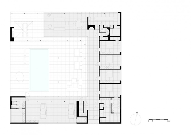 Ground floor plan of Minimalist Home by Beel & Achtergael Architects