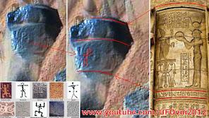 Ancient Aliens sur Mars: pétroglyphe antique et la colonne Photographiés par la NASA
