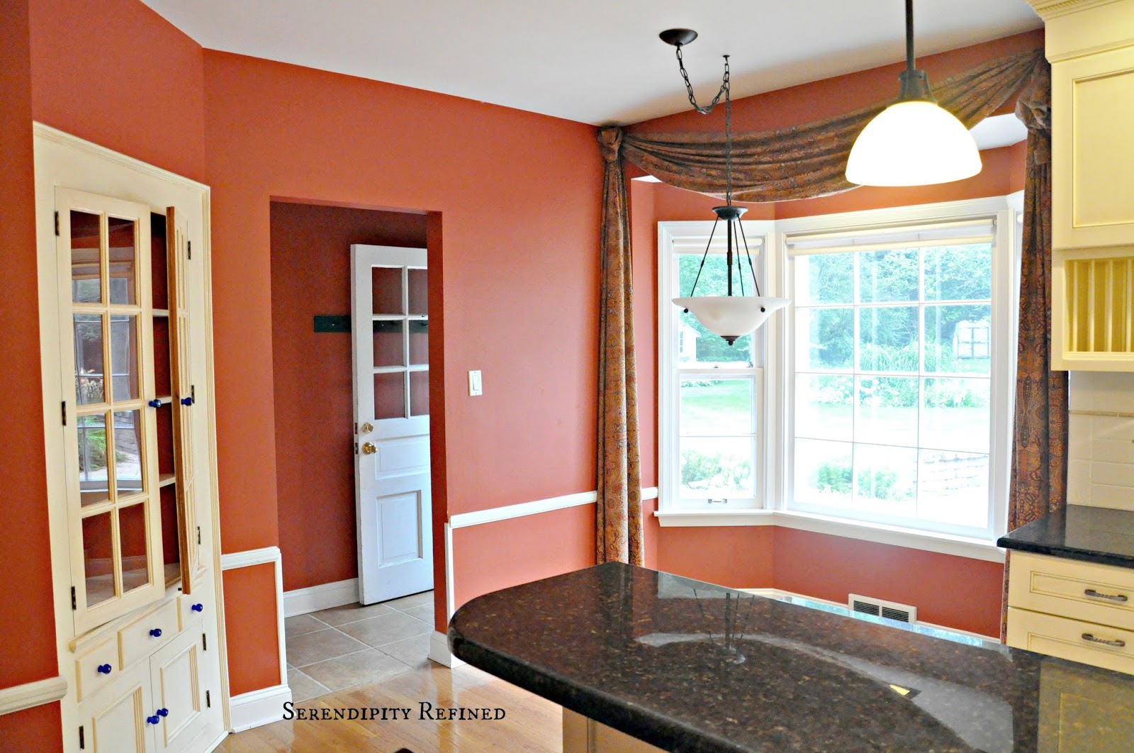Serendipity refined blog french farm house kitchen for Grey kitchen cabinets with red walls