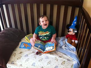 My son reading