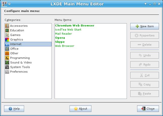 lxmed menu editor xfce lxde grafico