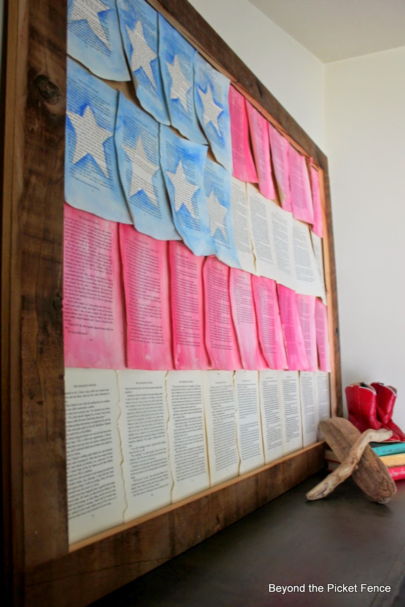 flag, 4th of July, old books, mantel, summer, http://bec4-beyondthepicketfence.blogspot.com/2014/06/summer-mantel-old-faded-book-page-flag.html