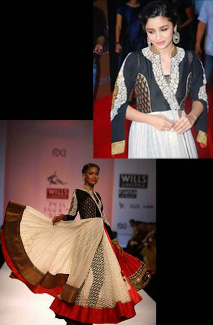 1830 - Alia bhatt White New Anarkali Bollywood Suit