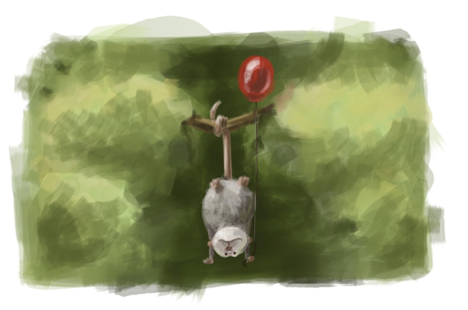 has anyone seen my glasses   animals holding a red balloon