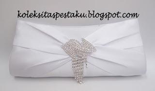 Handmade Clutch Bag Tas Pesta Silver Cantik Bross Jurai