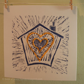 house of love, lino print, hand press print, heart, valentines