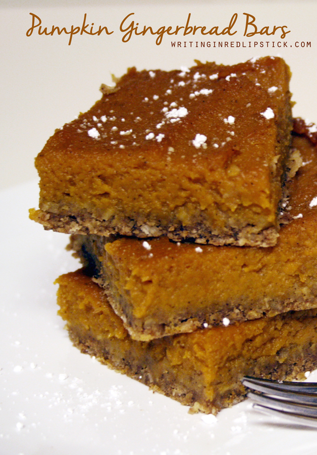 Pumpkin Gingerbread Bars Recipe by Writing in Red Lipstick