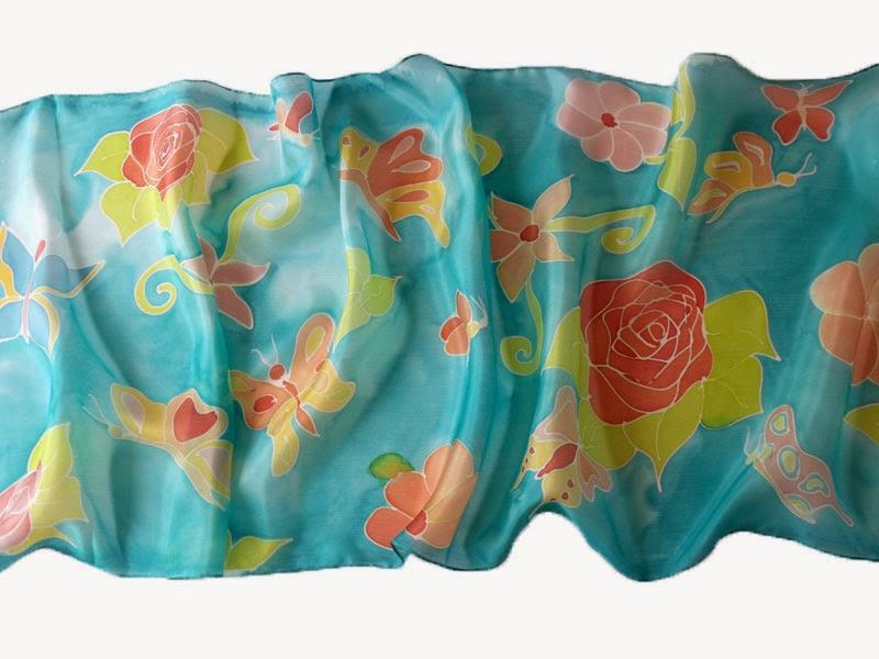 Pillangóskert selyem sál tavaszi színekben