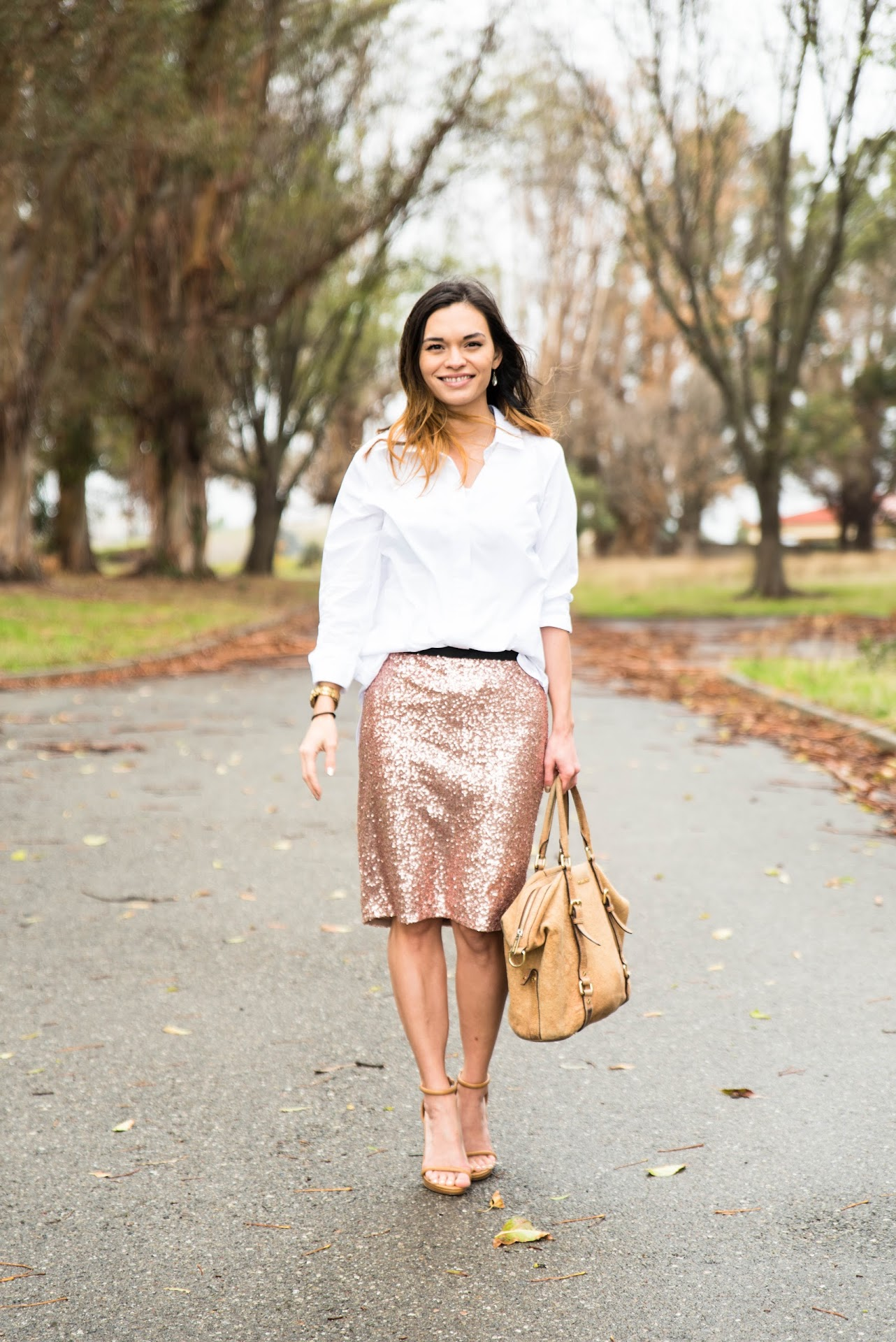 pink sequin skirt, new year's ootd outfit, new year's outfit you can wear to the office, office outfit ideas, sequin pencil skirt, modest fashion blogger, mormon lds blogger, affordable, asos vila longline shirt, forever 21 ankle strap sandals