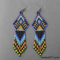 Индейские серьги из бисера - украшения от Anabel