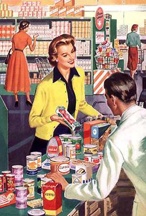 50s grocery checkout line woman